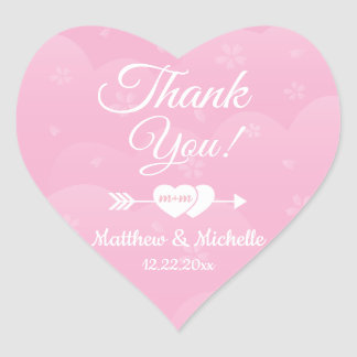 Two Hearts Pink Cherry Blossoms Wedding Thank You Heart Sticker