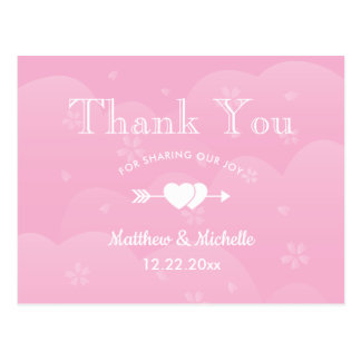 Two Hearts Pink Cherry Blossoms Wedding Thank You Postcard