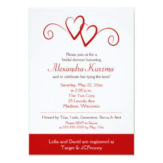 Two Hearts Red Swirl Bridal Shower Invitation