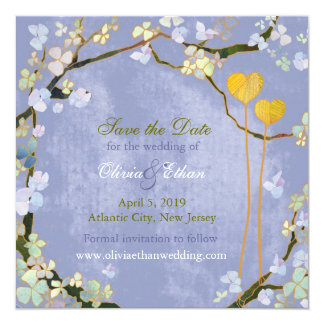 Two Hearts Rustic Blue Hip Wedding Save the Date Card