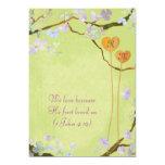 "Two Hearts Rustic Green Monograms Wedding 5"" X 7"" Invitation Card"