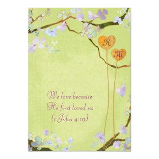 Two Hearts Rustic Green Monograms Wedding Card