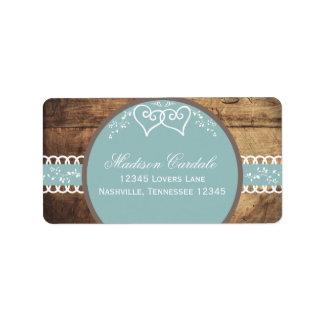 Two Hearts Rustic Wood Wedding Address Labels