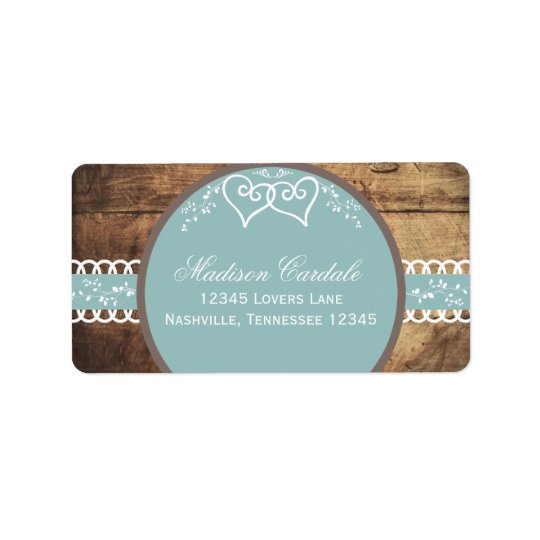 Two Hearts Rustic Wood Wedding Address Labels