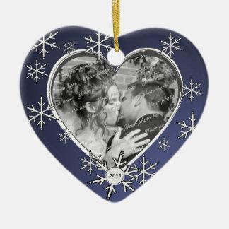 Two Hearts Snowflake Frame Ceramic Ornament