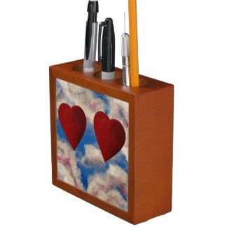 TWO HEARTS THAT BEAT AS ONE (heart design) ~ Desk Organizer