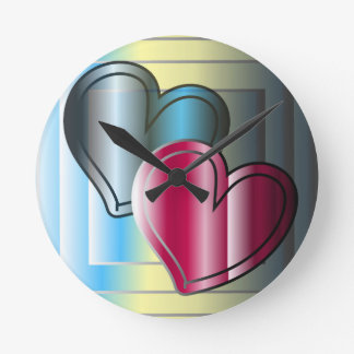 two hearts together and bright colored wall clocks