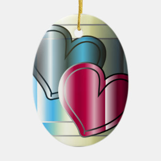 two hearts together and bright coloured ceramic oval ornament