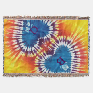 Two Hearts Together Tie Dye Wedding Personalized Throw Blanket