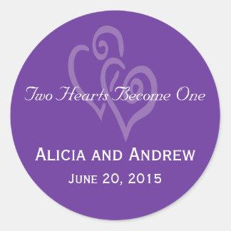 Two Hearts Wedding Favour Sticker Purple