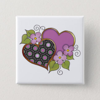 Two hearts with blossoms 2 inch square button