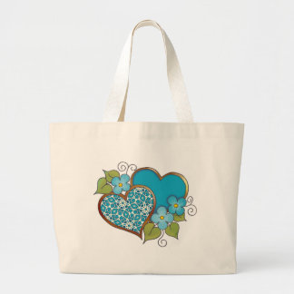 Two hearts with blossoms aqua large tote bag