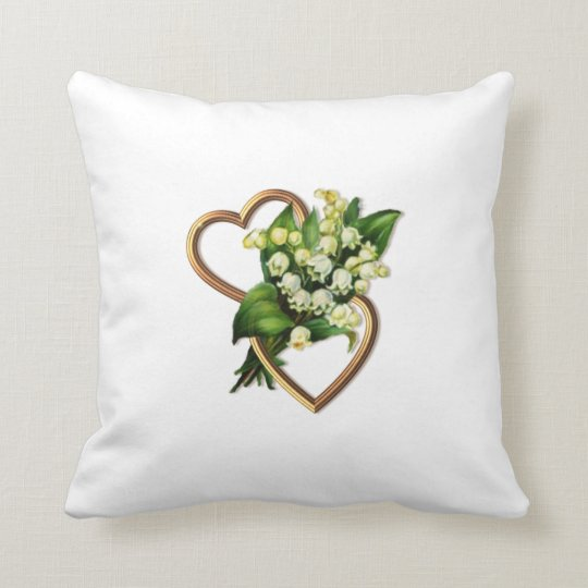 Two Hearts with Lilies of the Valley Throw Pillow