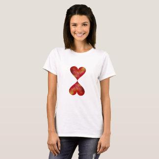 Two Hearts Women's Basic T-Shirt, White T-Shirt