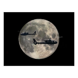 two helicopters silhouetted by a full moon print