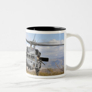 Two HH-60 Pavehawk helicopters preparing to lan Two-Tone Coffee Mug
