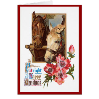 Two Horses - A Bright and Happy Christmas Card