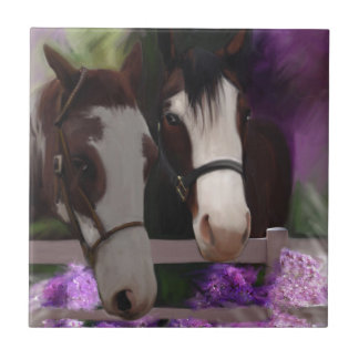 Two Horses and Purple Flowers Tile