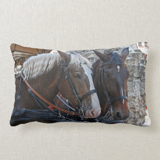 Two horses. Blonde and brunette. Lumbar Pillow