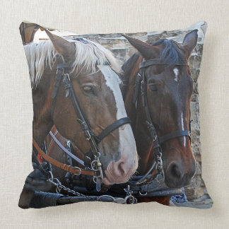 Two horses. Blonde and brunette. Throw Pillow