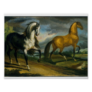 Two Horses by Theodore Gericault, 1808-1809 Poster