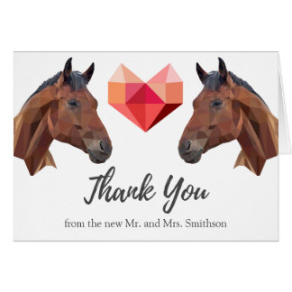 Two Horses | Custom Romantic Wedding Thank You Card
