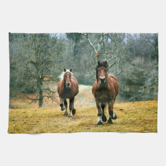 Two Horses Galloping in the Meadow Kitchen Towel