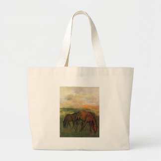 Two Horses in a Pasture by Edgar Degas Large Tote Bag