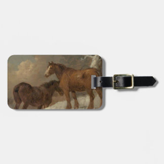 Two Horses in the Snow by George Morland Luggage Tag