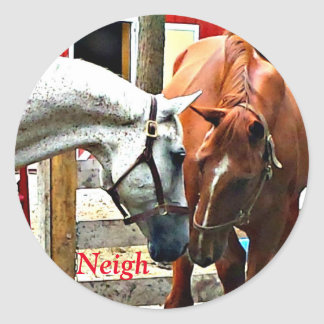 Two Horses Making Friends Classic Round Sticker