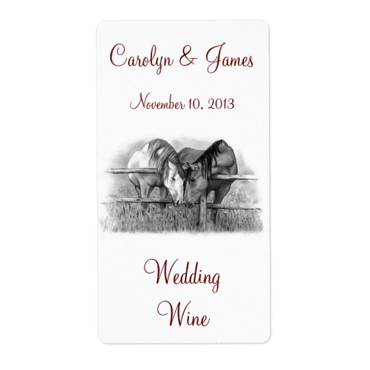 Two Horses Nuzzling: Wedding Wine: Pencil Art