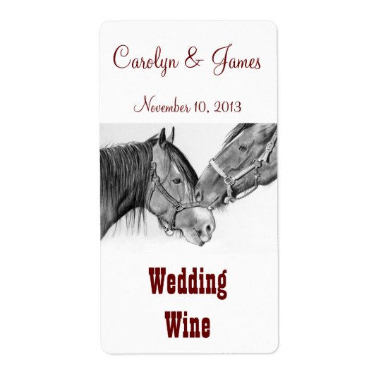 Two Horses Nuzzling: Wedding Wine: Pencil Art Shipping Label