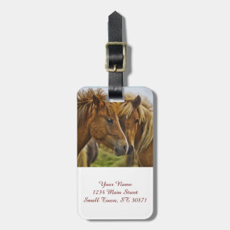 Two horses portrait luggage tag