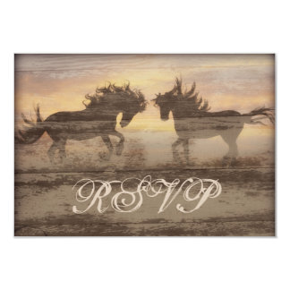 """Two Horses Rustic Country Western Wedding RSVP Car 3.5"""" X 5"""" Invitation Card"""