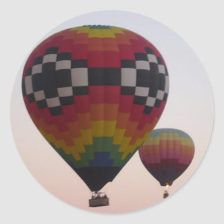 Two Hot Air Balloons Sunrise Classic Round Sticker