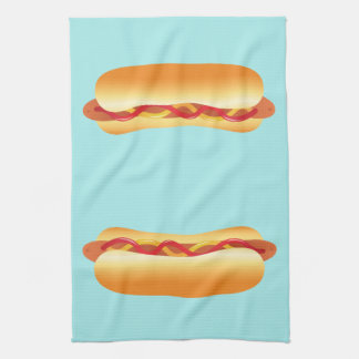 Two Hot Dogs Kitchen Towel
