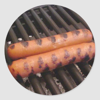 Two Hotdogs Grilling Round Sticker