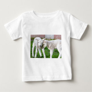 Two hugging and loving white lambs baby T-Shirt