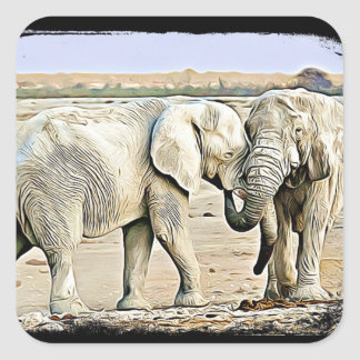 Two Hugging Elephants Stickers