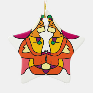 two indians sitting with a lion colorful art gift ceramic ornament
