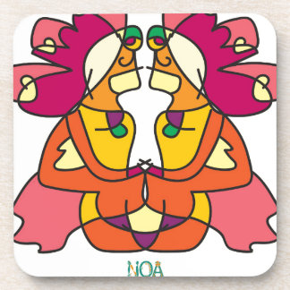 two indians sitting with a lion colorful art gift coaster