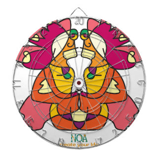two indians sitting with a lion colorful art gift dartboard