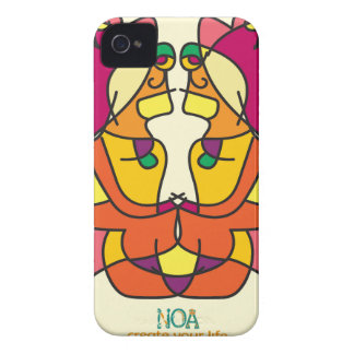 two indians sitting with a lion colorful art gift iPhone 4 Case-Mate case