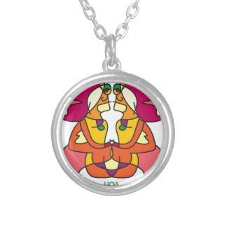 two indians sitting with a lion colorful art gift silver plated necklace