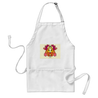 two indians sitting with a lion colorful art gift standard apron