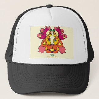 two indians sitting with a lion colorful art gift trucker hat
