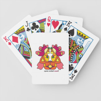 two indians sitting with a lion colorful bicycle playing cards