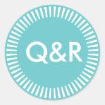 Two Initials Radiant Border, 66CCCC Turquoise Aqua Round Sticker