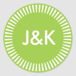 Two Initials Radiant Border, 99CC33 Avocado Green Round Stickers