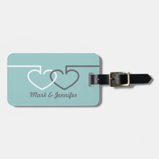 Two Interlocking Hearts Luggage Tag